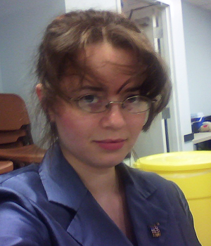 My Sarah Palin Halloween costume complete with crazy bangs after working 6 hours.