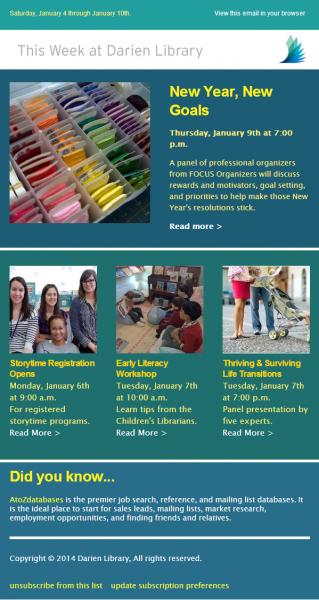 Property of Darien Library: Week of January 3, 2014